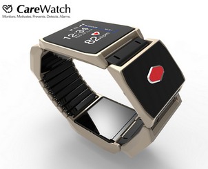 The CareWatch - a new category of wearables which offers fall detection, personal alarm and fall prevention using smart sensor technology.
